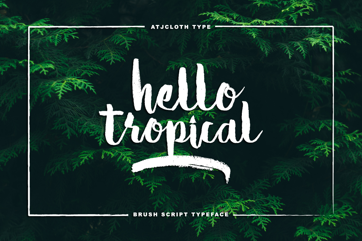 Print on Demand: Hello Tropical Manuscrita Fuente Por Atjcloth Studio
