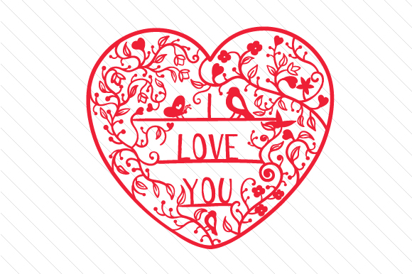 Download Free I Love You Intricate Floral Cut Svg Cut File By Creative for Cricut Explore, Silhouette and other cutting machines.