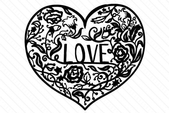 Download Free Love Intricate Design Svg Cut File By Creative Fabrica Crafts for Cricut Explore, Silhouette and other cutting machines.
