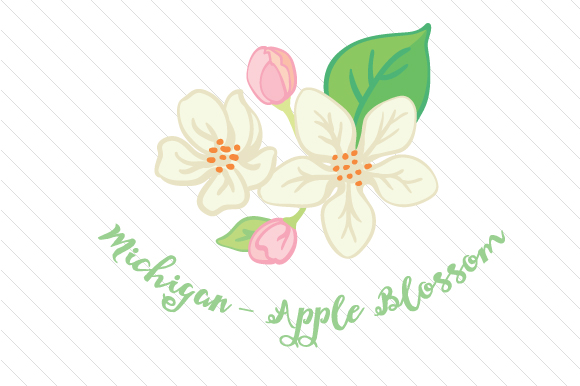 State Flower: Michigan Apple Blossom State Flowers Craft Cut File By Creative Fabrica Crafts