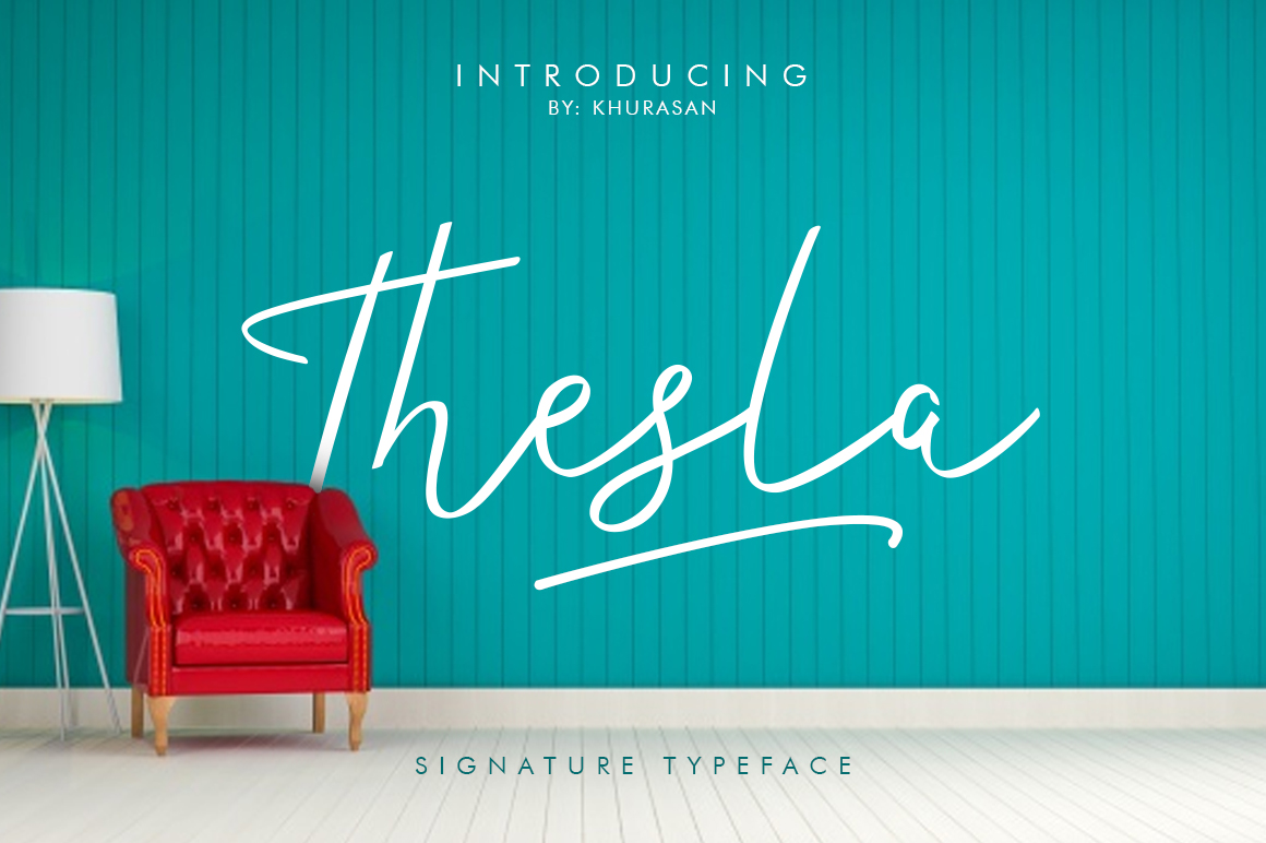 Print on Demand: Thesla Script Script & Handwritten Font By Khurasan
