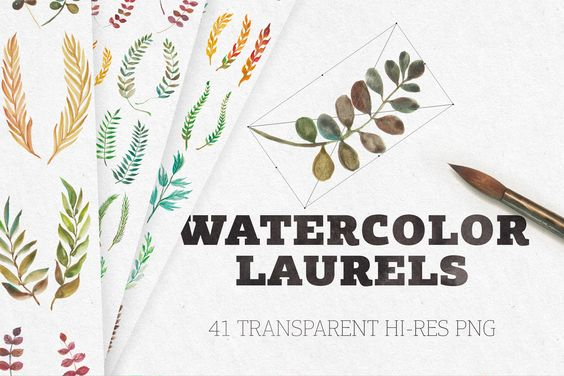 Watercolor Laurels Graphic By Blessed Print