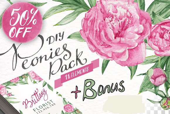 Watercolor Peonies DIY Pack Graphic Illustrations By Blessed Print