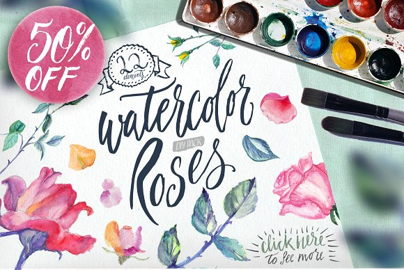 Watercolor Roses DIY Pack Graphic Illustrations By Blessed Print