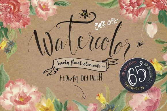 Watercolor Flower DIY Pack Graphic Illustrations By Blessed Print