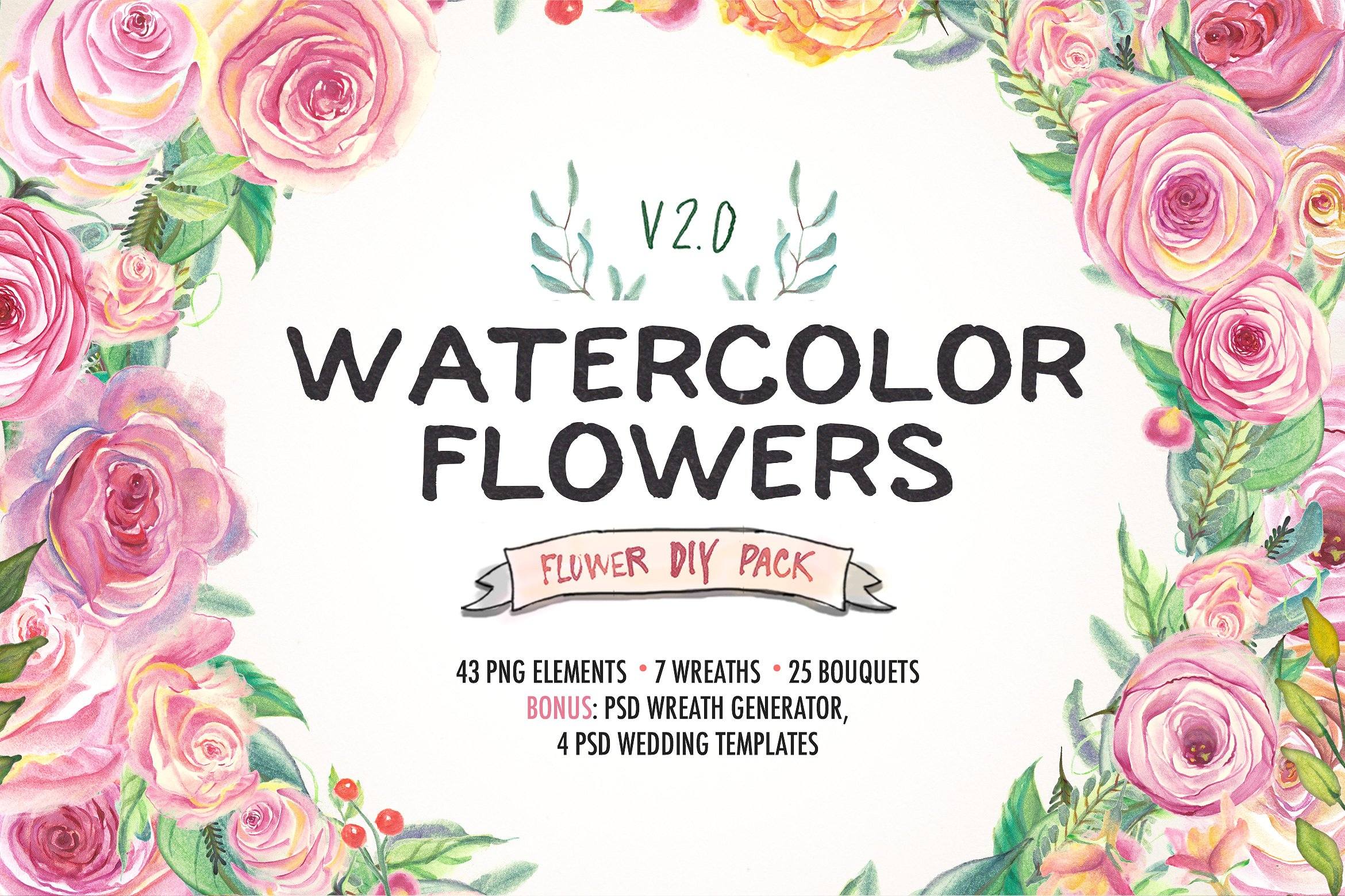 Watercolor Flower DIY Pack 2 Graphic Illustrations By Blessed Print