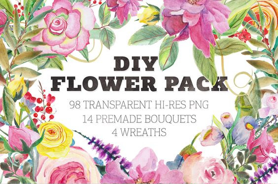 Watercolor Flower DIY Pack 4 Graphic Illustrations By Blessed Print