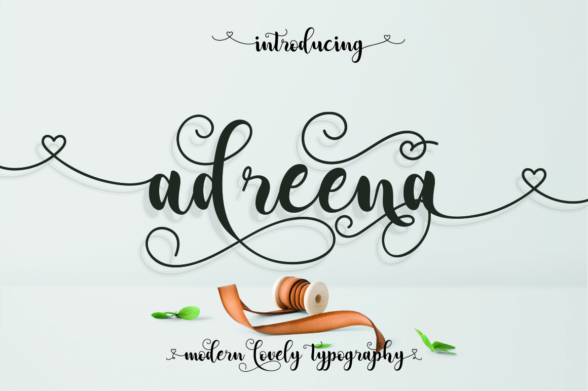 Print on Demand: Adreena Script Script & Handwritten Font By Aqr Typeface