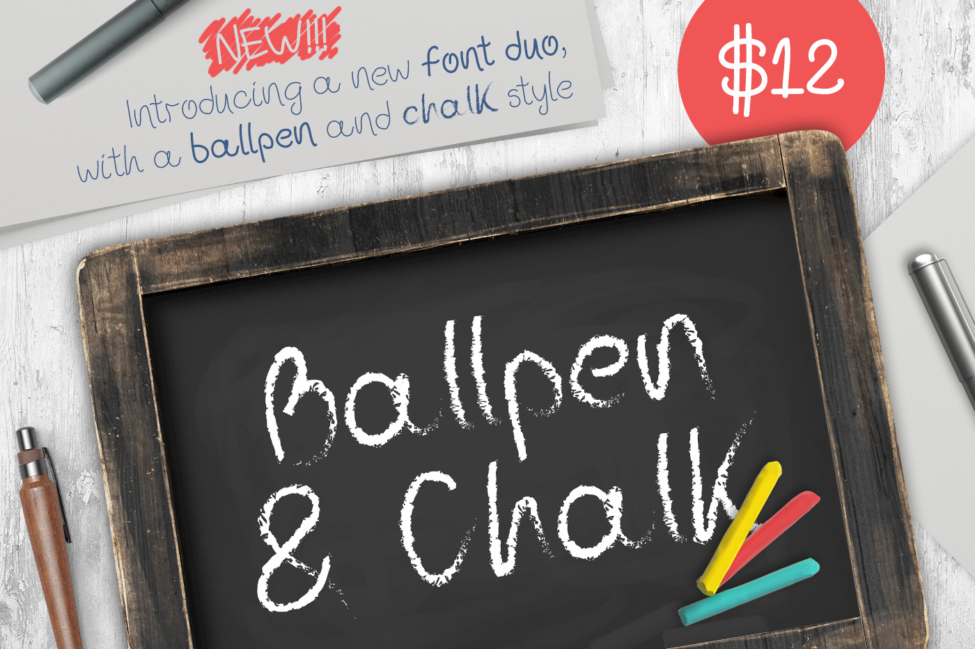 Print on Demand: Ballpen and Chalk Script & Handwritten Font By Design A Lot