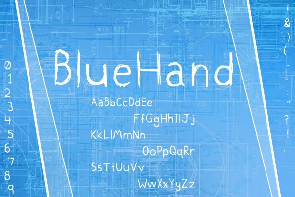 BlueHand Font By Marlee Pagels