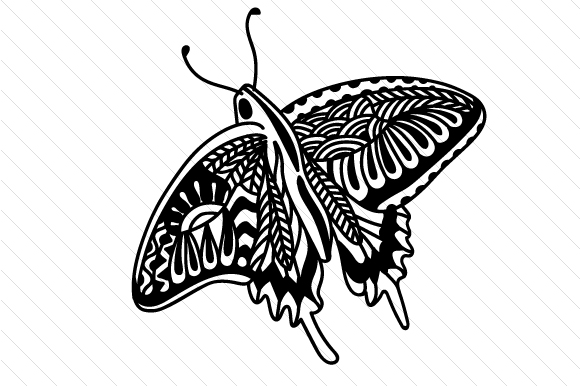 Butterfly Zentangle Craft Cut File By Creative Fabrica Crafts