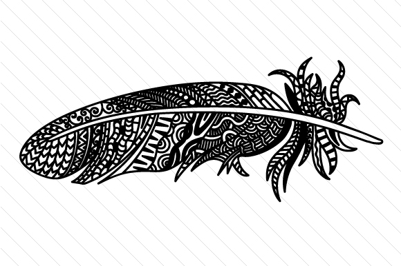 Feather 3 Zentangle Craft Cut File By Creative Fabrica Crafts