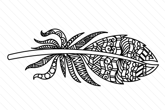 Feather2 Zentangle Craft Cut File By Creative Fabrica Crafts