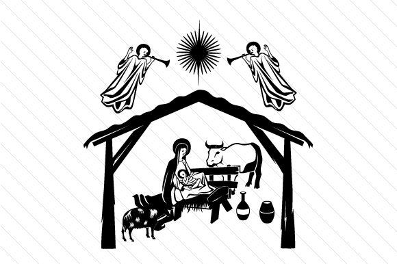 Download Free Nativity Scene With Stable Svg Cut File By Creative Fabrica for Cricut Explore, Silhouette and other cutting machines.