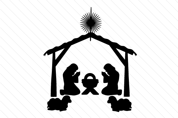 Shillhouette of Nativity Scene Christmas Craft Cut File By Creative Fabrica Crafts