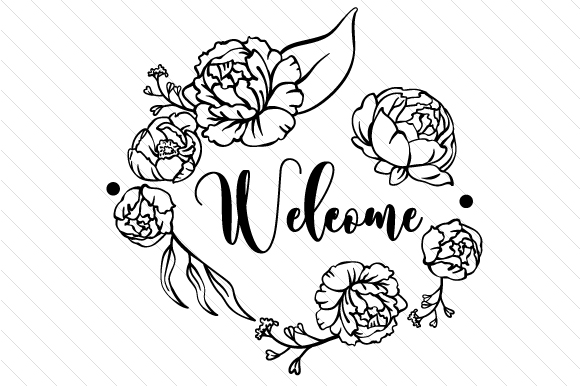 Download Free Welcome With Flowers Svg Cut File By Creative Fabrica Crafts for Cricut Explore, Silhouette and other cutting machines.
