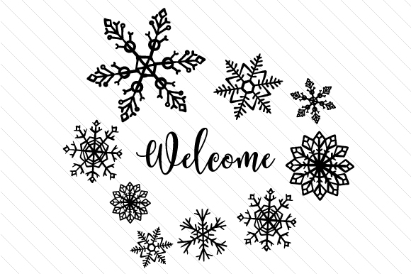 Download Free Welcome With Snowflakes Svg Cut File By Creative Fabrica Crafts for Cricut Explore, Silhouette and other cutting machines.
