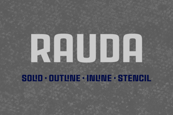 Print on Demand: Rauda Family Display Font By Graviton Font Foundry