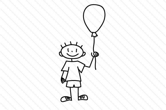 Boy with Baloon Stick Figures Craft Cut File By Creative Fabrica Crafts - Image 2
