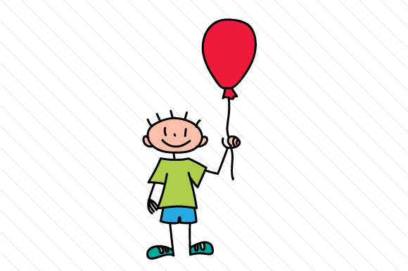 Boy with Baloon Stick Figures Craft Cut File By Creative Fabrica Crafts - Image 1