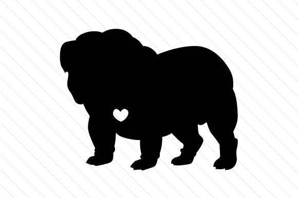 English Bulldog Silhouette With Heart Svg Cut File By
