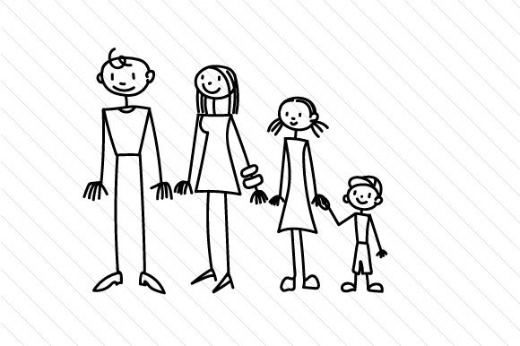 Family 1 Stick Figures Craft Cut File By Creative Fabrica Crafts - Image 2
