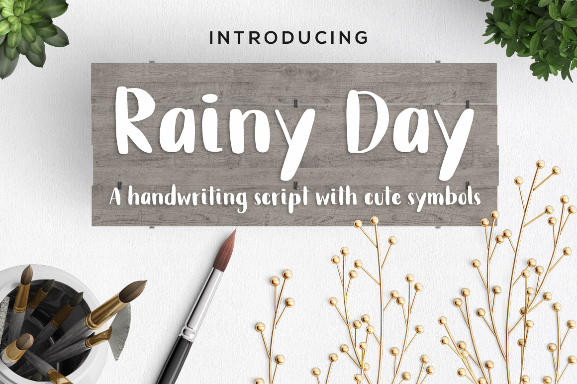 Print on Demand: Rainy Day Script & Handwritten Font By paramajandesign