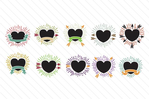 Set with 20 Decorative Hearts Designs & Drawings Craft Cut File By Creative Fabrica Crafts