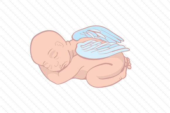 Download Free Sleeping Baby With Angel Wings Svg Cut File By Creative Fabrica for Cricut Explore, Silhouette and other cutting machines.