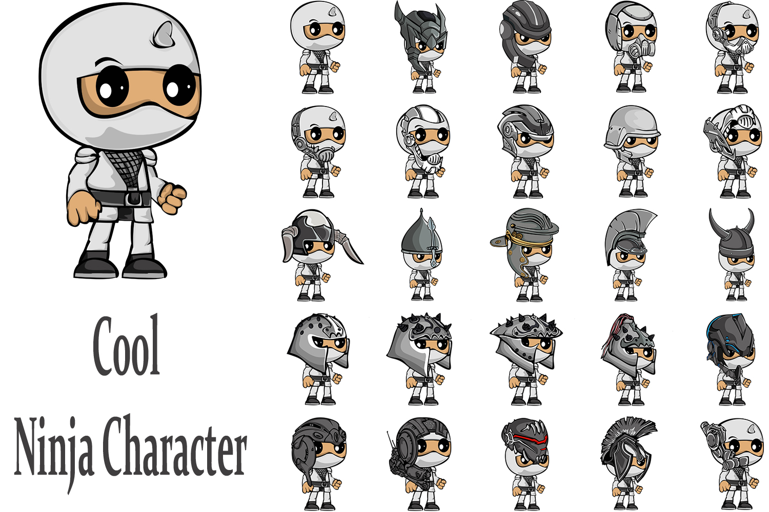 Print on Demand: 25 Pack Ninja Character Graphic Illustrations By Gblack Id