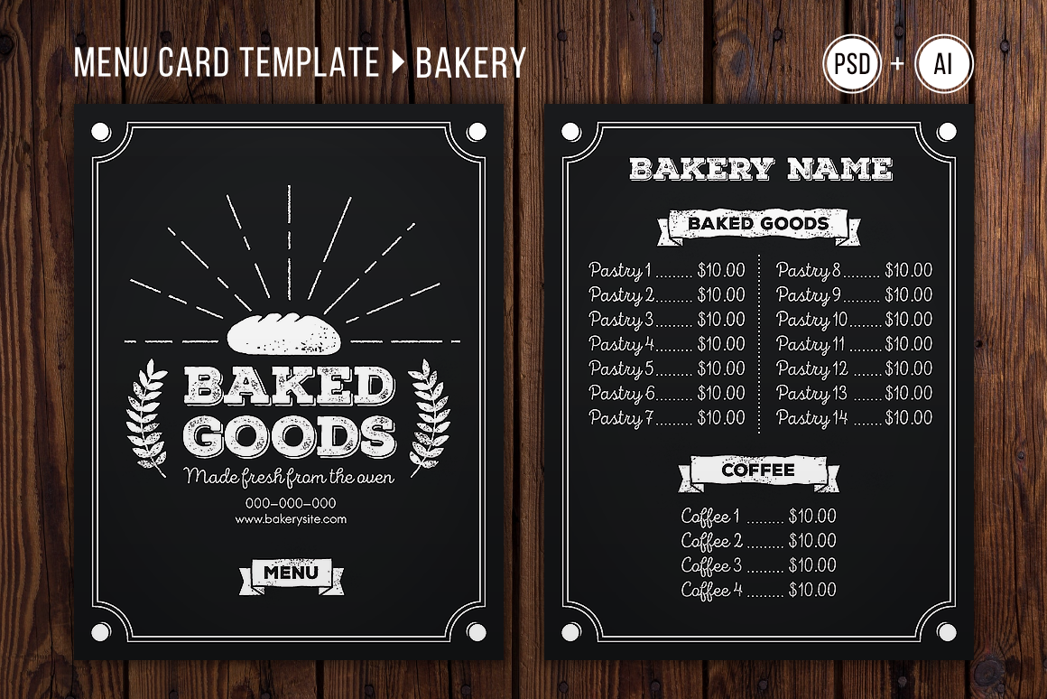 to go menu template free - bakery menu template graphic by the stock croc creative