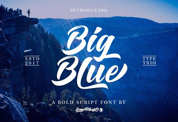 Print on Demand: Big Blue Script & Handwritten Font By Ijem RockArt