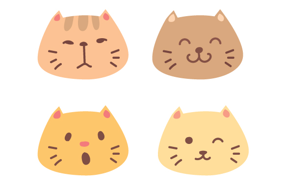 Download Free Cat Face Design Set Svg Cut File By Creative Fabrica Crafts for Cricut Explore, Silhouette and other cutting machines.