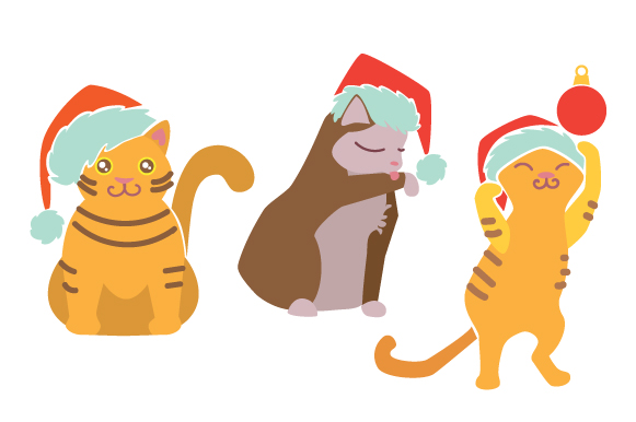 Cat with Christmas Hat Design Set Weihnachten Craft Cut File von Creative Fabrica Crafts