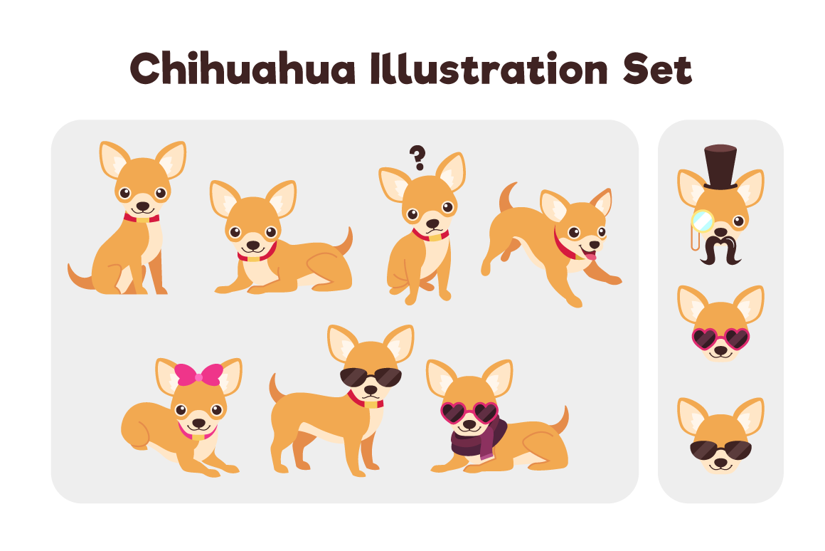Download Free Chihuahua Set Grafico Por The Stock Croc Creative Fabrica for Cricut Explore, Silhouette and other cutting machines.