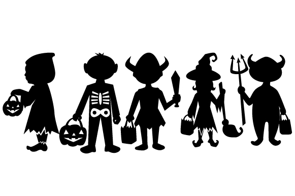 Children Trick or Treating Silhouettes Design Set Halloween Archivo de Corte Craft Por Creative Fabrica Crafts