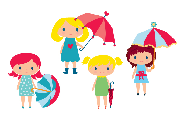 Cute Girls with Umbrella Designs & Drawings Craft Cut File By Creative Fabrica Crafts - Image 1