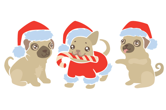 Dogs with Santa Hats Design Set Christmas Craft Cut File By Creative Fabrica Crafts - Image 1