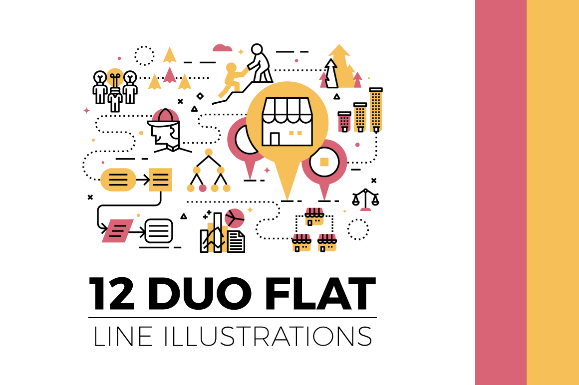 Download Free Duo Flat Line Illustrations Vol 2 Graphic By Becrispk Creative Fabrica for Cricut Explore, Silhouette and other cutting machines.