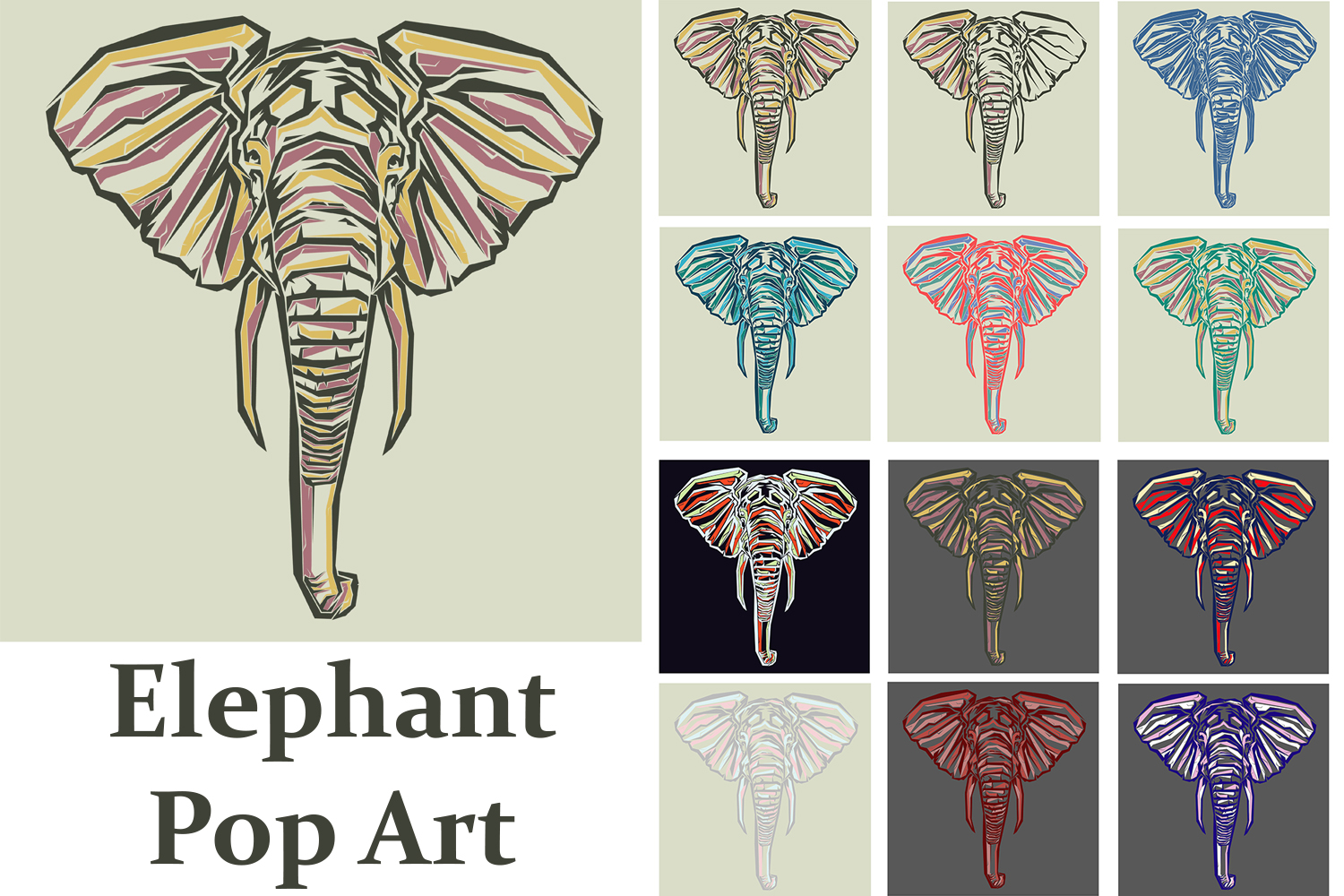 Print on Demand: Elephant Pop Art Graphic Illustrations By Gblack Id