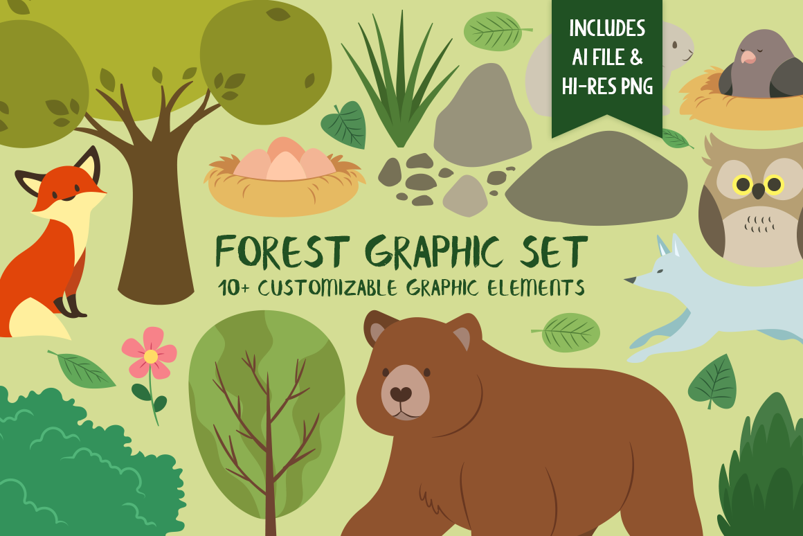 Download Free Forest Graphic Set Graphic By The Stock Croc Creative Fabrica for Cricut Explore, Silhouette and other cutting machines.