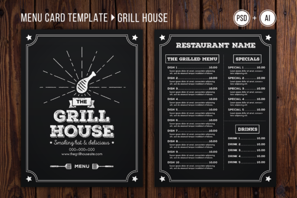 grill house menu template graphic by the stock croc creative fabrica