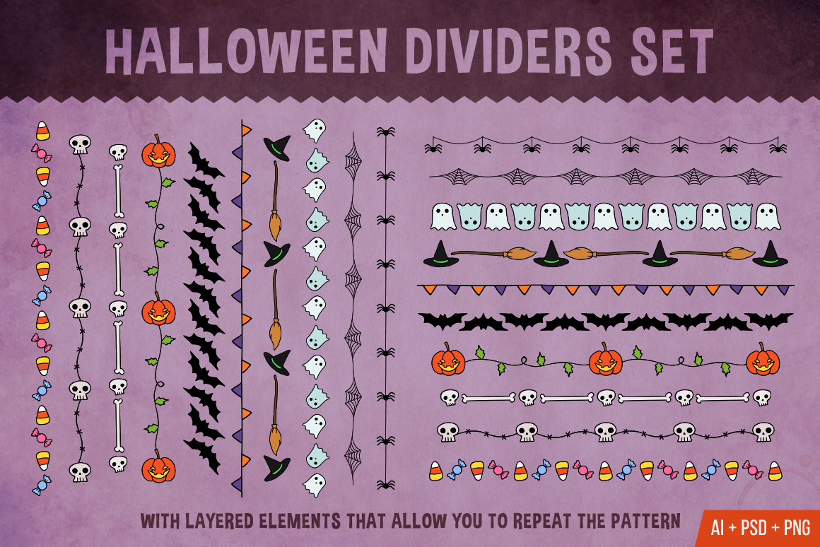 Halloween Dividers Set Graphic Objects By The Stock Croc