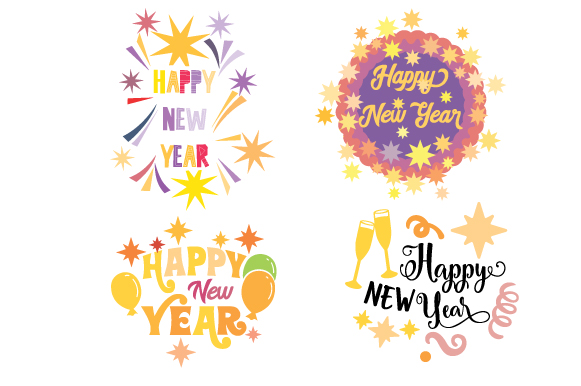 Happy New Year Design Set New Year's Craft Cut File By Creative Fabrica Crafts