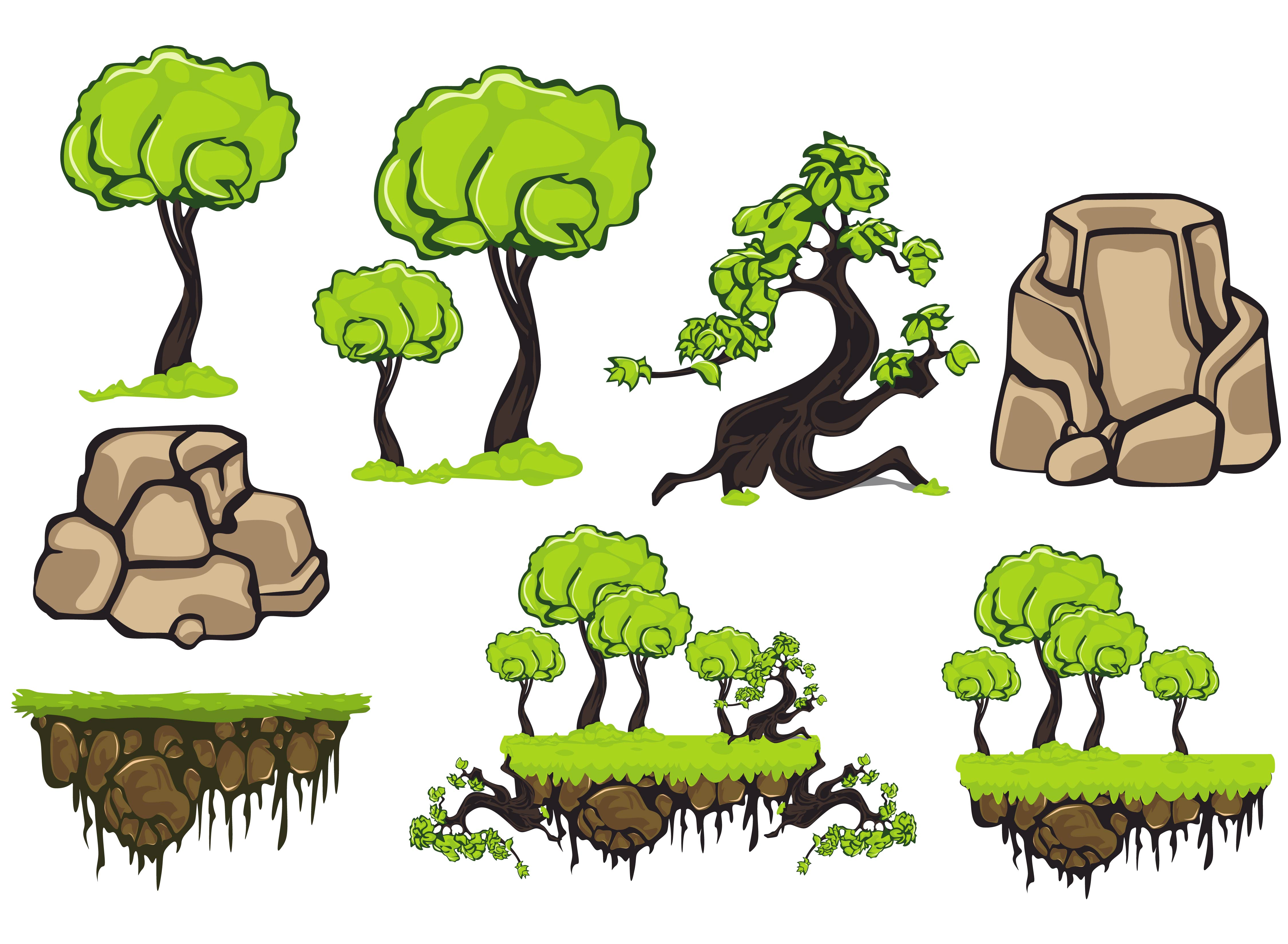 Print on Demand: Land Elements for Games Graphic Illustrations By Gblack Id
