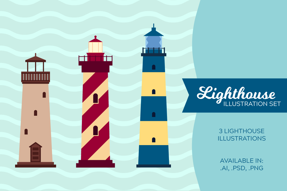 Lighthouse Illustration Set Graphic Illustrations By The Stock Croc