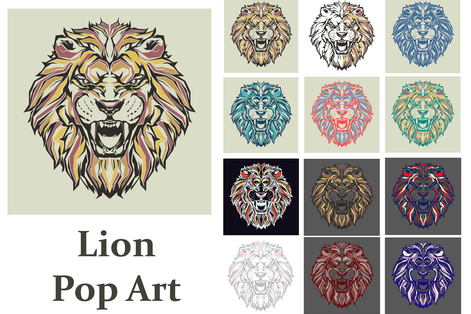 Print on Demand: Lion Pop Art Graphic Illustrations By Gblack Id