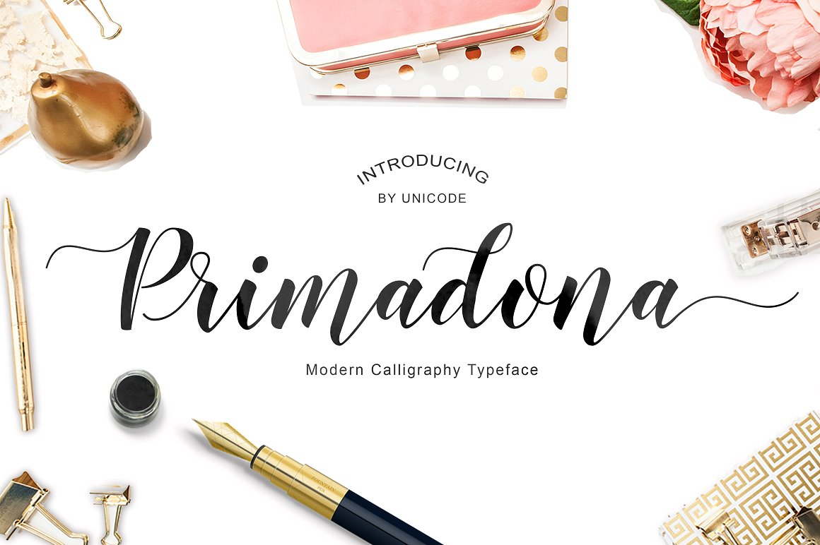 Print on Demand: Primadona Script & Handwritten Font By Unicode Studio