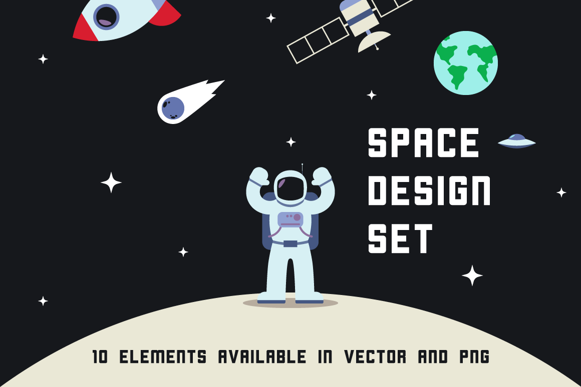 Space Design Set Graphic Illustrations By The Stock Croc