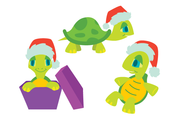 Download Free Turtles With Santa Hat Design Set Svg Cut File By Creative for Cricut Explore, Silhouette and other cutting machines.